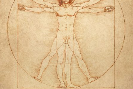 "The famous anatomical drawing ""Vitruvian Man"" (Uomo vitruviano) by Leonardo da Vinci."